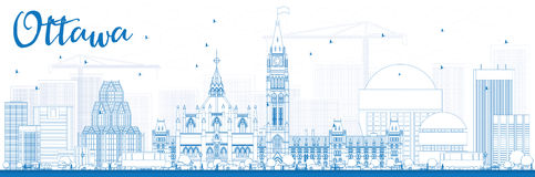 Outline Ottawa Skyline with Blue Buildings. Royalty Free Stock Photos