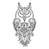 The outline of the owl is black, with patterns for drawing, . vector illustration