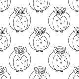 Outline owls retro seamless pattern Stock Image
