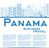 Outline Panama City skyline with blue skyscrapers and copy space Royalty Free Stock Image