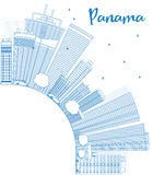 Outline Panama City skyline with blue skyscrapers and copy space Stock Photography
