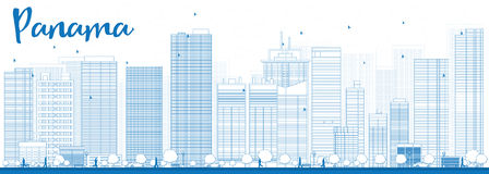 Outline Panama City skyline with blue skyscrapers Royalty Free Stock Image