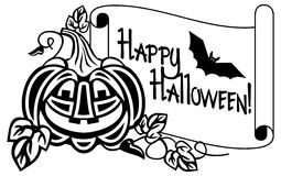 Outline paper scroll with Halloween pumpkin and text 'Happy Halloween!' Stock Photo