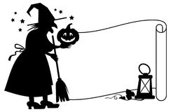 Outline paper scroll and silhouette of a witch with halloween pumpkin. Stock Photo