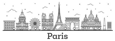 Outline Paris France City Skyline with Historic Buildings Isolated on White. Vector Illustration. Paris Cityscape with Landmarks vector illustration