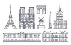 Outline paris landscape, france vector landmarks icons Stock Photography