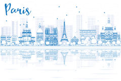 Outline Paris skyline with blue buildings and reflections. Royalty Free Stock Photo