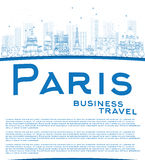 Outline Paris skyline with blue landmarks and copy space Royalty Free Stock Photos