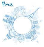 Outline Paris skyline with blue landmarks and copy space Royalty Free Stock Image