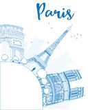 Outline Paris skyline with blue landmarks and copy space. Stock Image