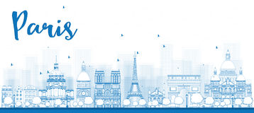 Outline Paris skyline with blue landmarks Royalty Free Stock Photo