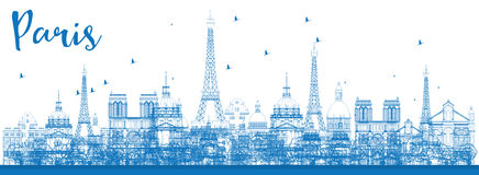 Outline Paris skyline with blue landmarks. Royalty Free Stock Photos