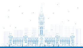 Outline Parliament Building in Ottawa, Canada. royalty free illustration