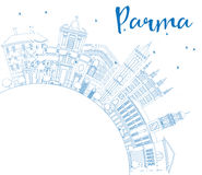 Outline Parma Skyline with Blue Buildings and Copy Space. Stock Photography