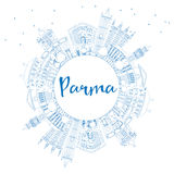 Outline Parma Skyline with Blue Buildings and Copy Space. Royalty Free Stock Images