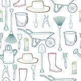 Outline pattern  with garden and farmer tools. Instruments and hat and wheelbarrow, gloves. Stock Photos