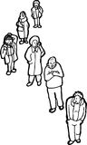 Outline of People Waiting in Line Stock Photography