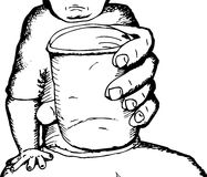 Outline of Person with Cup Stock Photo