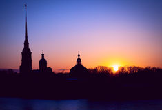 The outline of the Peter and Paul fortress in Saint-Petersburg d Royalty Free Stock Photo