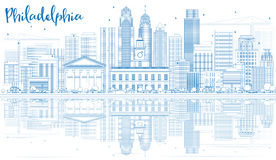 Outline Philadelphia Skyline with Blue Buildings and Reflections Stock Photography