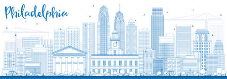 Outline Philadelphia Skyline with Blue Buildings. Royalty Free Stock Photography