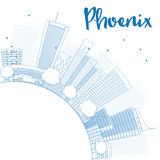 Outline Phoenix Skyline with Blue Buildings and copy space. Royalty Free Stock Photos