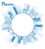 Outline Phoenix Skyline with Blue Buildings and copy space Royalty Free Stock Photos