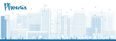 Outline Phoenix Skyline with Blue Buildings Stock Photos