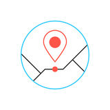 Outline pin icon from thin line. Concept of creative company emblem, exact coordinates, positioning system, cartography, targeting distant.  on white Royalty Free Stock Image