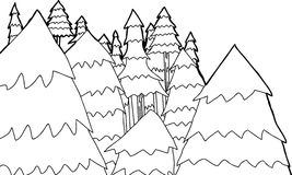 Outline of Pine Trees Royalty Free Stock Photography