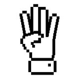 Outline pixelated hand with four fingers symbol. Vector illustration Royalty Free Stock Photos