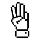Outline pixelated hand with three fingers symbol. Vector illustration Royalty Free Stock Image