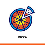 Outline PIZZA icon. Vector pictogram suitable for print, website and presentation Royalty Free Stock Photos