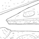 Outline of Pizza Slices Stock Image
