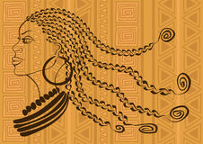 Outline portrait of beautiful African tribal girl. On an ethnic patterned background vector illustration