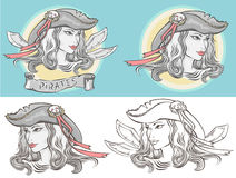 Outline portrait of a girl-pirate in different versions Stock Photos