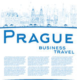Outline Prague skyline with blue landmarks and copy space Stock Photo