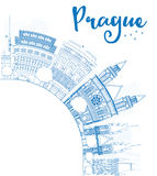 Outline Prague skyline with blue landmarks and copy space. Stock Photography