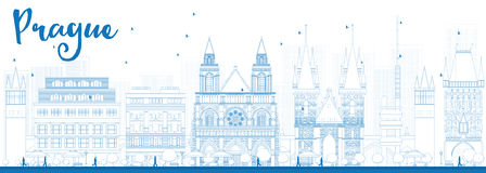Outline Prague skyline with blue landmarks Royalty Free Stock Photos