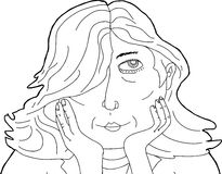 Outline of Pretty Lady with Hands on Chin Stock Photos