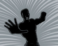 Outline punching man Stock Images