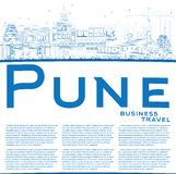 Outline Pune Skyline with Blue Buildings and Copy Space. Royalty Free Stock Image