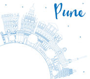 Outline Pune Skyline with Blue Buildings and Copy Space. Royalty Free Stock Photography