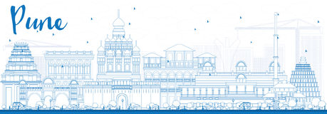 Outline Pune Skyline with Blue Buildings. Stock Image