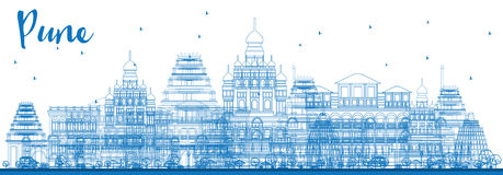 Outline Pune Skyline with Blue Buildings. Royalty Free Stock Photos