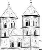 Outline of Quedlinburg Abbey Stock Photography