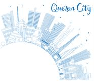 Outline Quezon City Philippines Skyline with Blue Buildings and Royalty Free Stock Photo