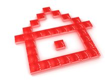Outline of red house. A view of small three-dimensional red squares arranged to form the pixelated outline of a house on a white background stock illustration