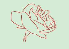 It is an outline of a red rose on a green background. stock images