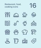 Outline Restaurant, food, cooking icons for web and mobile design pack 1 Stock Photos